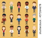 set of diverse business people. ... | Shutterstock .eps vector #457264678
