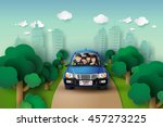 funny family driving in car on... | Shutterstock .eps vector #457273225