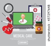 medical care  doctor with... | Shutterstock .eps vector #457297648