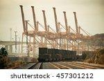 seattle  wa   aug 14  crane... | Shutterstock . vector #457301212