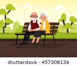 elderly couple outdoors.... | Shutterstock .eps vector #457308136