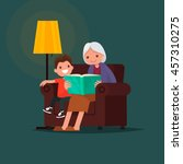 grandmother reading a book... | Shutterstock .eps vector #457310275