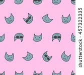 seamless doodle cat pattern. | Shutterstock .eps vector #457322335