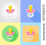 baby toys and accessories flat... | Shutterstock .eps vector #457330375