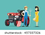 farmers and tractor. vector... | Shutterstock .eps vector #457337326
