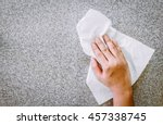 hand cleaning with paper towel | Shutterstock . vector #457338745
