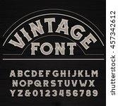 vintage font. retro alphabet.... | Shutterstock .eps vector #457342612