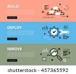 flat line web banners of... | Shutterstock .eps vector #457365592