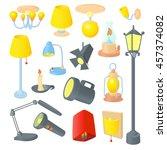 lighting icons set in cartoon...