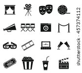 cinema icons set in simple... | Shutterstock .eps vector #457374112