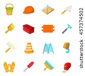 working tools icons set in... | Shutterstock .eps vector #457374502