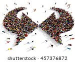 large and diverse group of... | Shutterstock . vector #457376872