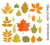 set of yellow autumn leaves... | Shutterstock .eps vector #457377982