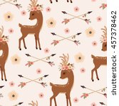 Elegant Deer With Floral Wreat...