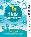 hello summer beach party poster ... | Shutterstock .eps vector #457379746