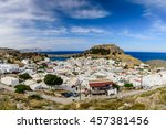 lindos village and castle ... | Shutterstock . vector #457381456