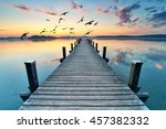 boardwalk leads out onto the... | Shutterstock . vector #457382332