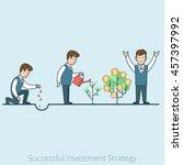 linear flat businessman plant... | Shutterstock .eps vector #457397992