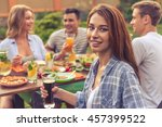 young people are having picnic... | Shutterstock . vector #457399522