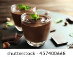 chocolate mousse with mint in...   Shutterstock . vector #457400668