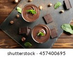 chocolate mousse with mint in... | Shutterstock . vector #457400695