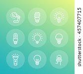 light bulbs line icons set | Shutterstock .eps vector #457407715
