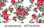 baroque pattern with bouquet of ... | Shutterstock .eps vector #457414546