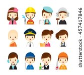 people occupations icons set ... | Shutterstock .eps vector #457417846