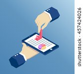 isometric hand holding pnone... | Shutterstock .eps vector #457424026