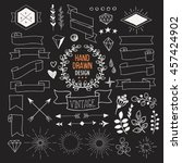 set of vector hand drawn... | Shutterstock .eps vector #457424902