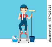 painter on ladder front of wall ... | Shutterstock .eps vector #457429216