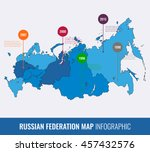 russia map infographic template.... | Shutterstock .eps vector #457432576