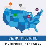 usa map infographic template.... | Shutterstock .eps vector #457432612