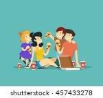 happy family eating pizza.... | Shutterstock .eps vector #457433278