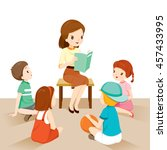 woman teachers telling story to ... | Shutterstock .eps vector #457433995