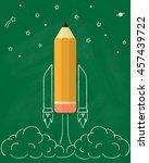 pencil as space rocket launch... | Shutterstock .eps vector #457439722