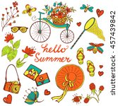 summer elements big collection. ... | Shutterstock .eps vector #457439842