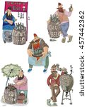 craft beer vendors set. bearded ... | Shutterstock .eps vector #457442362