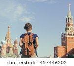 young attractive woman traveler ... | Shutterstock . vector #457446202