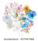 beautiful  watercolor bouquet... | Shutterstock . vector #457447486