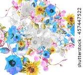 beautiful  watercolor bouquet... | Shutterstock . vector #457447522