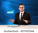 modern televison presenter... | Shutterstock . vector #457455346