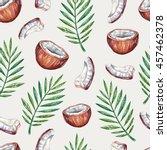 watercolor tropical seamless... | Shutterstock . vector #457462378