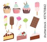 cartoon sweets set   cupcakes ... | Shutterstock .eps vector #457470862