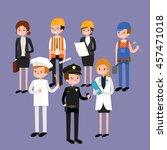 vector flat profession... | Shutterstock .eps vector #457471018