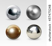 chrome ball realistic isolated... | Shutterstock .eps vector #457475248