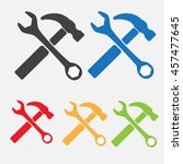 service symbol. hammer with... | Shutterstock .eps vector #457477645