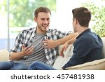 two friends talking sitting in... | Shutterstock . vector #457481938