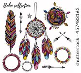 colorful boho design collection ... | Shutterstock .eps vector #457483162