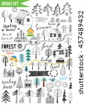 doodles set   forest | Shutterstock .eps vector #457489432